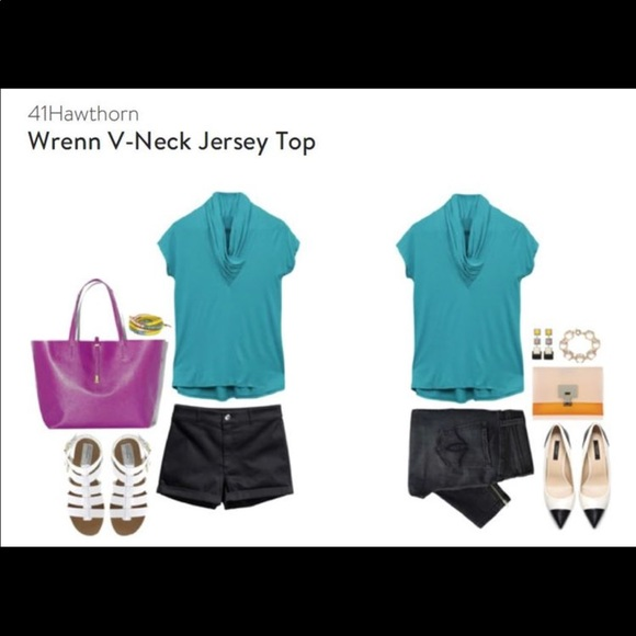 Stitch Fix Tops - NWT! Stitch Fix Turquoise V-neck Jersey Top Small